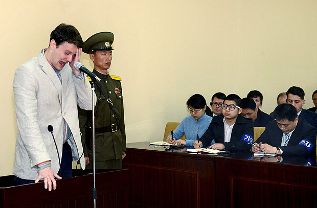 U.S. student Otto Warmbier cries at court in an undisclosed location in North Korea, in this photo released by North Korea's Korean Central News Agency (KCNA) in Pyongyang on March 16, 2016. North Korea's supreme court sentenced Warmbier, a 21-year-old University of Virginia student, who was arrested while visiting the country, to 15 years of hard labour on Wednesday for crimes against the state. REUTERS/KCNA TPX IMAGES OF THE DAY ATTENTION EDITORS - THIS PICTURE WAS PROVIDED BY A THIRD PARTY. REUTERS IS UNABLE TO INDEPENDENTLY VERIFY THE AUTHENTICITY, CONTENT, LOCATION OR DATE OF THIS IMAGE. FOR EDITORIAL USE ONLY. NOT FOR SALE FOR MARKETING OR ADVERTISING CAMPAIGNS. NO THIRD PARTY SALES. NOT FOR USE BY REUTERS THIRD PARTY DISTRIBUTORS. SOUTH KOREA OUT. NO COMMERCIAL OR EDITORIAL SALES IN SOUTH KOREA. THIS PICTURE IS DISTRIBUTED EXACTLY AS RECEIVED BY REUTERS, AS A SERVICE TO CLIENTS. ORG XMIT: SIN90