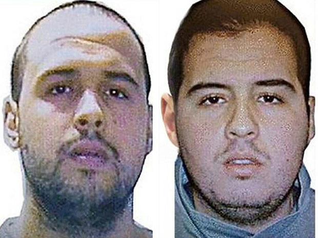 """(COMBO) This combination of handout pictures obtained via Interpol on March 23, 2016 shows Khalid (L) and Ibrahim (R) El Bakraoui, the two Belgian brothers identified as the suicide bombers who struck Brussels on March 22, 2016, as a manhunt for a third assailant in Belgium's bloodiest terror assault gained pace. Two suicide blasts hit Brussels' Zaventem airport on March 22, 2016 morning followed soon after by a third on a train at Maalbeek station, close to the European Union's institutions, just as rush-hour commuters were heading to work. The triple blasts that killed some 30 people and left around 250 injured was claimed by the Islamic State jihadist group. / AFP PHOTO / Interpol / - / RESTRICTED TO EDITORIAL USE - MANDATORY CREDIT """"AFP PHOTO / INTERPOL- NO MARKETING NO ADVERTISING CAMPAIGNS - DISTRIBUTED AS A SERVICE TO CLIENTS"""