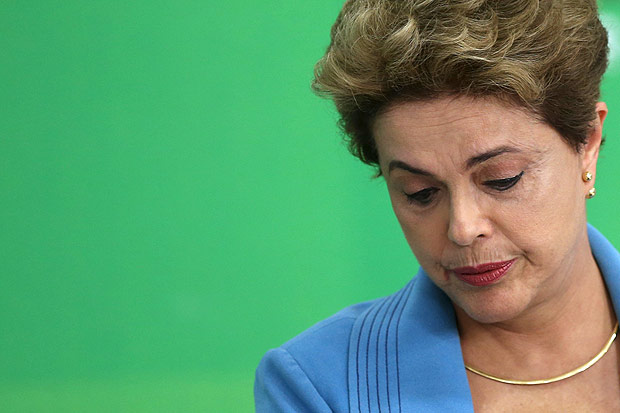 Brazil's President Dilma Rousseff reacts during a news conference at Planalto Palace in Brasilia, Brazil, April 18, 2016. REUTERS/Adriano Machado TPX IMAGES OF THE DAY ORG XMIT: BSB031