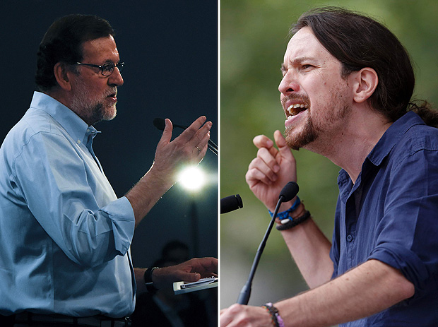 "(FILES) A combination of file photos shows leader of the Popular Party (PP) and Spain's caretaker Prime Minister and party candidate, Mariano Rajoy (L) speaking during a campaign meeting on the spanish Canary island of Tenerife on June 18, 2016 and leader of left wing party Podemos Pablo Iglesias during ""The Congress on your Square"" meeting held at El Pozo cultural center in Vallecas, a neighborhood of Madrid on May 11, 2016. For the upcoming June 26 Spanish general elections, the Conservative leader, Mariano Rajoy expects the fierce rivalry between Podemos, born two years ago, and the Socialist Party (PSOE), old of 137 years, to keep in power. / AFP PHOTO / CURTO DE LA TORRE"