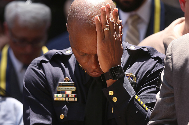 DALLAS, TX - JULY 08: Dallas Police Chief David Brown pauses at a prayer vigil following the deaths of five police officers last night during a Black Live Matter march on July 8, 2016 in Dallas, Texas. Five police officers were killed and seven others were injured in a coordinated ambush at a anti-police brutality demonstration in Dallas. Investigators are saying the suspect is 25-year-old Micah Xavier Johnson of Mesquite, Texas. This is the deadliest incident for U.S. law enforcement since September 11. Spencer Platt/Getty Images/AFP == FOR NEWSPAPERS, INTERNET, TELCOS & TELEVISION USE ONLY ==
