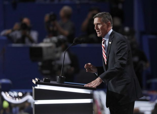 Lt. Gen. Michael Flynn, U.S. Army (ret) speaks during the opening day of the Republican National Convention in Cleveland, Monday, July 18, 2016. (AP Photo/Paul Sancya) ORG XMIT: RNC