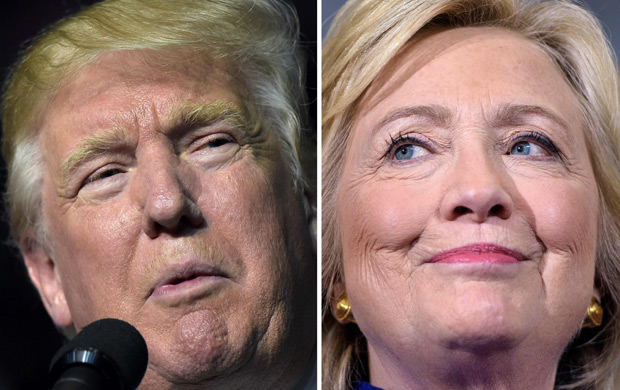 Montagem de fotos do republicano Donald Trump e da democrata Hillary Clinton