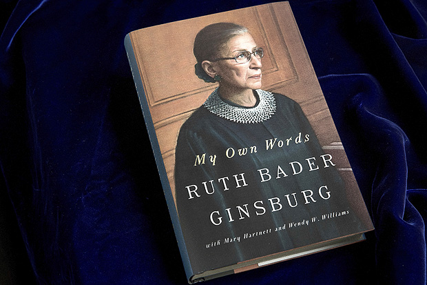 "A copy of the book ""My Own Words,"" by Supreme Court Justice Ruth Bader Ginsburg, is photographed in Washington, Friday, Sept. 30, 2016. Ginsburg is riding the wave of her cultural rock-stardom, releasing a compilation of her writings, from an editorial she wrote for her high school newspaper to summaries of some of her spiciest dissenting opinions. (AP Photo/Andrew Harnik) ORG XMIT: WX206"