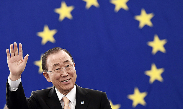 UN Secretary-General Ban Ki-moon gestures prior a voting session on the UN Climate Change agreement struck in Paris last year at the European Parliament in Strasbourg, eastern France, on October 4, 2016. The European Parliament overwhelmingly backed the ratification of the Paris climate deal, in a vote attended by UN chief Ban Ki-moon that paves the way for the landmark pact to come into force globally. / AFP PHOTO / FREDERICK FLORIN ORG XMIT: FFL3948