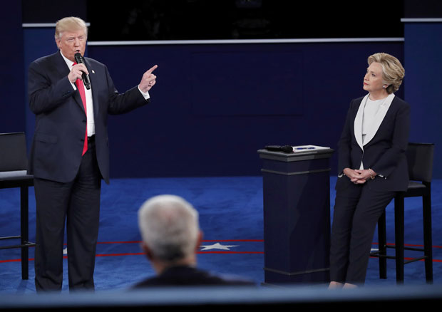 Republican U.S. presidential nominee Donald Trump speaks during the second U.S. presidential town hall debate between Trump and Democratic U.S. presidential nominee Hillary Clinton at Washington University in St. Louis, Missouri, U.S., October 9, 2016. REUTERS/Jim Young ORG XMIT: STL219