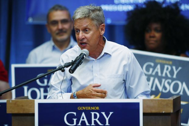 Libertarian presidential candidate Gary Johnson speaks during a rally late Monday, Oct. 3, 2016, in Parker, Colo.