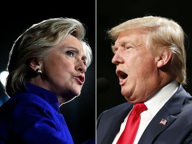 (COMBO) This combination of pictures created on November 03, 2016 shows US Democratic presidential nominee Hillary Clinton in Tempe, Arizona, on November 2, 2016 and US Republican Presidential nominee Donald Trump in Warren, Michigan on October 31, 2016. Just five days before the bitter presidential campaign comes to a head a new poll on November 3, 2016 showed a tightening race, with Hillary Clinton's edge over Donald Trump shrinking and few voters saying they remain undecided. The New York Times/CBS News poll showed the Democratic White House hopeful with 45 percent to her Republican rival's 42, a three-point lead that had diminished from the more comfortable nine-point margin she had weeks earlier. / AFP PHOTO / JEWEL SAMAD AND JEFF KOWALSKY