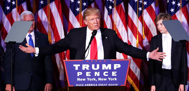 NEW YORK, NY - NOVEMBER 09: Republican president-elect Donald Trump delivers his acceptance speech during his election night event at the New York Hilton Midtown in the early morning hours of November 9, 2016 in New York City. Donald Trump defeated Democratic presidential nominee Hillary Clinton to become the 45th president of the United States. Mark Wilson/Getty Images/AFP == FOR NEWSPAPERS, INTERNET, TELCOS & TELEVISION USE ONLY ==
