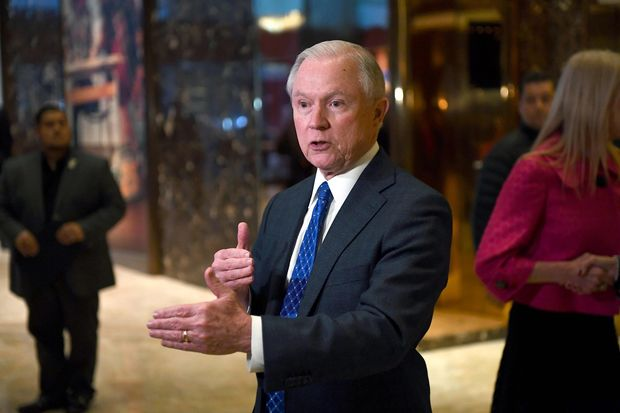 US Senator Jeff Sessions of Alabama talks to the media at the Trump Tower in New York on November 17, 2016. President-elect Donald Trump has chosen Jeff Sessions, a conservative senator who was one of his early backers in the race for the White House, to be attorney general, US media reported November 18, 2016. / AFP PHOTO / Jewel SAMAD