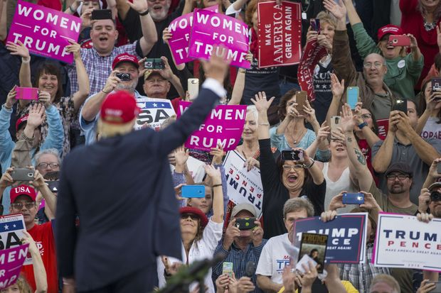 Supporters wave as president-elect Donald Trump arrives for a thank you rally in Ladd-Peebles Stadium on December 17, 2016 in Mobile, Alabama