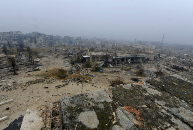"A combination picture shows the Old City of Aleppo, Syria on November 24, 2008 (top) and after it was damaged December 13, 2016. REUTERS/Omar Sanadiki SEARCH ""ALEPPO HERITAGE"" FOR THIS STORY. SEARCH ""WIDER IMAGE"" FOR ALL STORIES. ORG XMIT: PXP23 [aleppo82]"