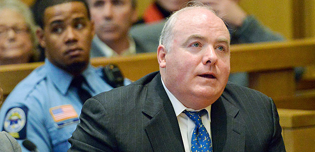 FILE PHOTO -- Michael Skakel reacts to being granted bail during his hearing at Stamford Superior Court, in Stamford, Connecticut November 21, 2013. REUTERS/Bob Luckey/Pool/File Photo ORG XMIT: TOR110