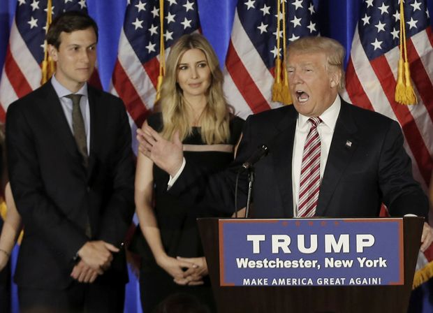Donald Trump speaks as his son-in-law Jared Kushner (L) and his daughter Ivanka listen at a campaign event at the Trump National Golf Club Westchester in Briarcliff Manor, New York, U.S., June 7, 2016.