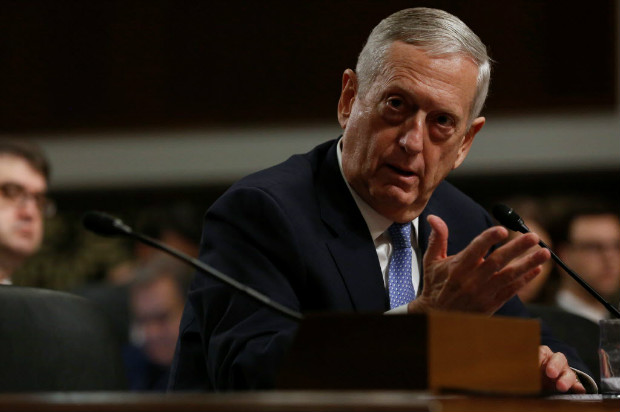 Retired U.S. Marine Corps General James Mattis testifies before a Senate Armed Services Committee hearing on his nomination to serve as defense secretary in Washington, U.S. January 12, 2017. REUTERS/Jonathan Ernst ORG XMIT: WAS914