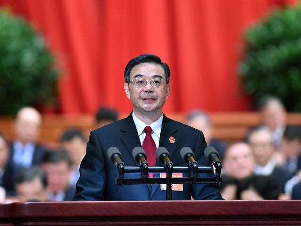 (170312) -- BEIJING, March 12, 2017 (Xinhua) -- Chief Justice Zhou Qiang delivers a work report of the Supreme People's Court at the third plenary meeting of the fifth session of the 12th National People's Congress at the Great Hall of the People in Beijing, capital of China, March 12, 2017. (Xinhua/Li Tao) (zhs)
