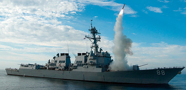 "In this image obtained from the US Navy, the guided-missile destroyer USS Preble conducts an operational tomahawk missile launch while underway in a training area off the coast of California, on September 29, 2010. US President Donald Trump ordered a massive military strike against a Syria on April 6, 2017, in retaliation for a chemical weapons attack they blame on President Bashar al-Assad. A US official said 59 precision guided missiles hit Shayrat Airfield in Syria, where Washington believes Tuesday's deadly attack was launched. / AFP PHOTO / US NAVY / Woody PASCHALL / RESTRICTED TO EDITORIAL USE - MANDATORY CREDIT ""AFP PHOTO / US NAVY / Mass Communication Specialist 1st Class Woody Paschall"" - NO MARKETING NO ADVERTISING CAMPAIGNS - DISTRIBUTED AS A SERVICE TO CLIENTS ORG XMIT: USS Preble (DDG 88)"