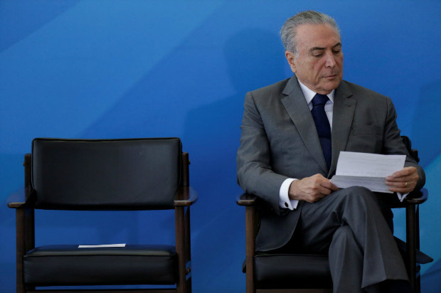 Brazil's President Michel Temer attends a ceremony at the Planalto Palace in Brasilia, Brazil April 12, 2017. Picture taken April 12, 2017. REUTERS/Ueslei Marcelino ORG XMIT: UMS03