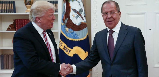 This handout photo released by the Russian Ministry of Foreign Affairs, shows President Donald Trump meeting with Russian Foreign Minister Sergey Lavrov in the Oval Office of the White House in Washington, Wednesday, May 10, 2017. The Washington Post is reporting that Trump revealed highly classified information about Islamic State militants to Russian officials during a meeting at the White House last week. The newspaper cites current and former U.S. officials who say Trump jeopardized a critical source of intelligence on IS in his conversations with the Russian foreign minister and the Russian ambassador to the U.S. They say Trump offered details about an IS terror threat related to the use of laptop computers on aircraft.(Russian Foreign Ministry via AP) ORG XMIT: WX111