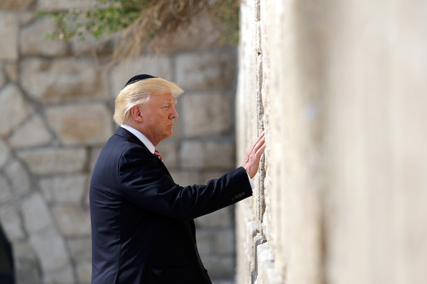 President Donald Trump visits the Western Wall, Monday, May 22, 2017, in Jerusalem. (AP Photo/Evan Vucci) ORG XMIT: ISRV203