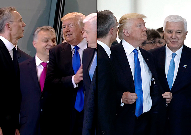 In this image taken from NATO TV, Montenegro Prime Minister Dusko Markovic, second right, appears to be pushed by US President Donald Trump as they were given a tour of NATO's new headquarters after taking part in a group photo, during a NATO summit of heads of state and government in Brussels on Thursday, May 25, 2017. (NATO TV via AP) ORG XMIT: LON883///Montenegro Prime Minister Dusko Markovic, center right, after appearing to be pushed by Donald Trump, center, during a NATO summit of heads of state and government in Brussels on Thursday, May 25, 2017. US President Donald Trump inaugurated the new headquarters during a ceremony on Thursday with other heads of state and government. (AP Photo/Matt Dunham) ORG XMIT: LMD109