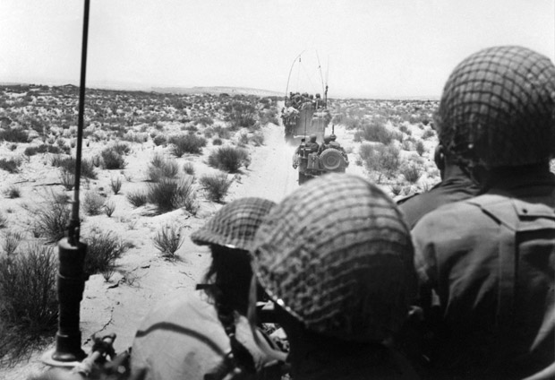 (FILES) This file photo taken on June 1, 1967 shows Israeli armored forces in action in the Sinai Desert. In six days in 1967 Egypt's vaunted airforce was destroyed and its army humbled. Egyptians never overcame the shock of that defeat to Israel that spelled the end of their country's regional dominance. / AFP PHOTO / AFP FILES / HO ORG XMIT: DOC01