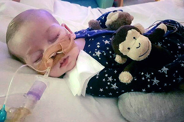 This is an undated hand out photo of Charlie Gard provided by his family, at Great Ormond Street Hospital, in London. The parents of a terminally-ill baby boy lost the final stage of their legal battle on Tuesday, June27, 2017 to take him out of a British hospital to receive treatment in the U.S., after a European court agreed with previous rulings that the baby should be taken off life support. (Family of Charlie Gard via AP) ORG XMIT: LON821