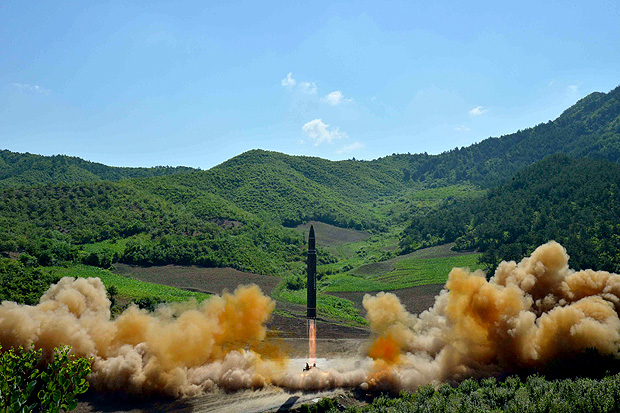 The intercontinental ballistic missile Hwasong-14 is seen during its test launch in this undated photo released by North Korea's Korean Central News Agency (KCNA) in Pyongyang, July, 4 2017. KCNA/via REUTERS ATTENTION EDITORS - THIS IMAGE WAS PROVIDED BY A THIRD PARTY. REUTERS IS UNABLE TO INDEPENDENTLY VERIFY THIS IMAGE. NO THIRD PARTY SALES. SOUTH KOREA OUT. ORG XMIT: GDY104