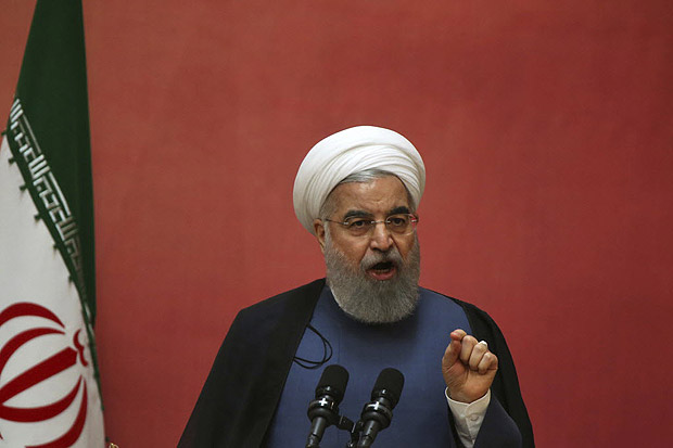 Iranian President Hassan Rouhani speaks in a conference on combating sand and dust storms, in Tehran, Iran, Monday, July 3, 2017. Iran's president has assailed a major dam project by Turkey involving the Euphrates and the Tigris River, demanding a halt in the construction. (AP Photo/Vahid Salemi) ORG XMIT: VAH101