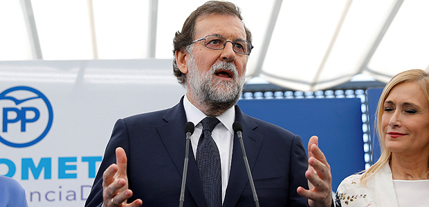Spain's Prime Minister Mariano Rajoy speaks at a People's Party (PP) event on violence against women after testifying in the Gurtel corruption case in Madrid, Spain July 26, 2017. REUTERS/Paul Hanna ORG XMIT: PDH702