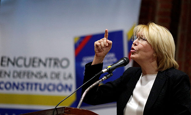 Venezuela's chief prosecutor Luisa Ortega Diaz speaks during a conference in defense of the Constitution in Caracas, Venezuela August 6, 2017. REUTERS/Ueslei Marcelino ORG XMIT: MBH02