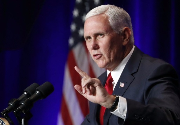 Vice President Mike Pence speaks at the Young America's Foundation's 39th annual National Conservative Student Conference, Friday, Aug. 4, 2017, in Washington. (AP Photo/Alex Brandon) ORG XMIT: DCAB112