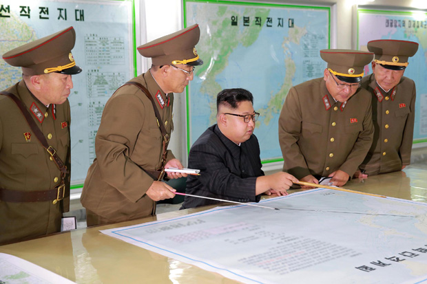 North Korean leader Kim Jong Un inspected the Command of the Strategic Force of the Korean People's Army (KPA) in an unknown location in North Korea in this undated photo released by North Korea's Korean Central News Agency (KCNA) on August 15, 2017. KCNA/via REUTERS REUTERS ATTENTION EDITORS - THIS PICTURE WAS PROVIDED BY A THIRD PARTY. NO THIRD PARTY SALES. SOUTH KOREA OUT. NO COMMERCIAL OR EDITORIAL SALES IN SOUTH KOREA. ORG XMIT: GDY01