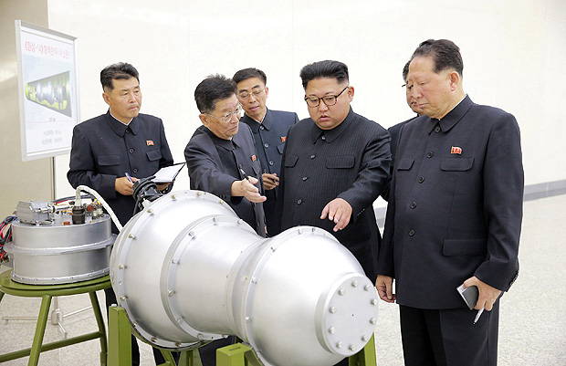 North Korean leader Kim Jong Un provides guidance on a nuclear weapons program in this undated photo released by North Korea's Korean Central News Agency (KCNA) in Pyongyang September 3, 2017. KCNA via REUTERS ATTENTION EDITORS - THIS PICTURE WAS PROVIDED BY A THIRD PARTY. REUTERS IS UNABLE TO INDEPENDENTLY VERIFY THE AUTHENTICITY, CONTENT, LOCATION OR DATE OF THIS IMAGE. NOT FOR SALE FOR MARKETING OR ADVERTISING CAMPAIGNS. NO THIRD PARTY SALES. NOT FOR USE BY REUTERS THIRD PARTY DISTRIBUTORS. SOUTH KOREA OUT. NO COMMERCIAL OR EDITORIAL SALES IN SOUTH KOREA. THIS PICTURE IS DISTRIBUTED EXACTLY AS RECEIVED BY REUTERS, AS A SERVICE TO CLIENTS. TPX IMAGES OF THE DAY ORG XMIT: SIN202