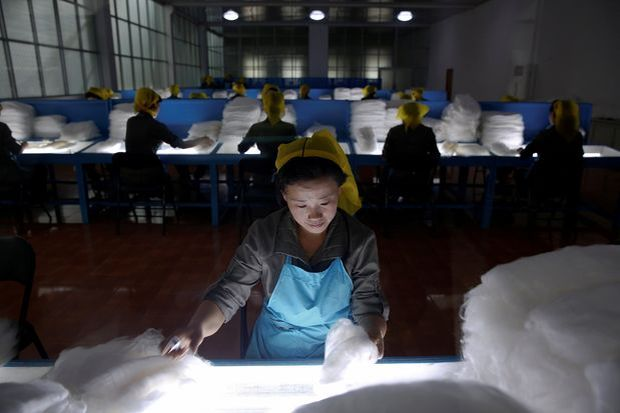 FILE PHOTO: Women work at the Kim Jong Suk Pyongyang textile mill during a government organised visit for foreign reporters in Pyongyang, North Korea May 9, 2016. REUTERS/Damir Sagolj/File Photo