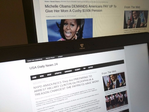 This photograph taken in Paris Friday Dec. 2, 2016 shows stories from USA Daily News 24, a fake news site registered in Veles, Macedonia. An Associated Press analysis using web intelligence service Domain Tools shows that USA Daily News 24 is one of roughly 200 U.S.-oriented sites registered in Veles, which has emerged as the unlikely hub for the distribution of disinformation on Facebook. Both stories shown here are bogus. (AP Photo/Raphael Satter)? ORG XMIT: PAR109