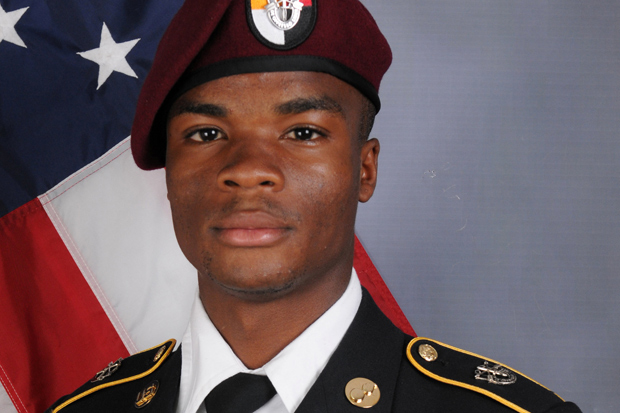 U.S. Army Sergeant La David Johnson, who was among four special forces soldiers killed in Niger, West Africa on October 4, 2017, poses in a handout photo released October 18, 2017. Courtesy U.S. Army Special Operations Command/Handout via REUTERS ATTENTION EDITORS - THIS IMAGE WAS PROVIDED BY A THIRD PARTY. ORG XMIT: TOR235