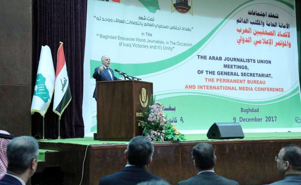 Iraqi Prime Minister Haider al-Abadi speaks during an Arab media conference in Baghdad, Iraq, December 9, 2017. Iraqi Prime Minister Media Office/Handout via REUTERS THIS IMAGE WAS PROVIDED BY A THIRD PARTY. NO RESALES. NO ARCHIVES. ORG XMIT: BAG524
