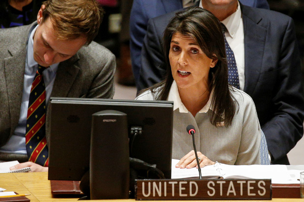 United States ambassador to the United Nations Nikki Haley addresses the U.N. Security Council meeting on the situation in the Middle East, including the Palestine, at the United Nations Headquarters in New York, U.S., December 8, 2017. REUTERS/Brendan McDermid ORG XMIT: NYK509