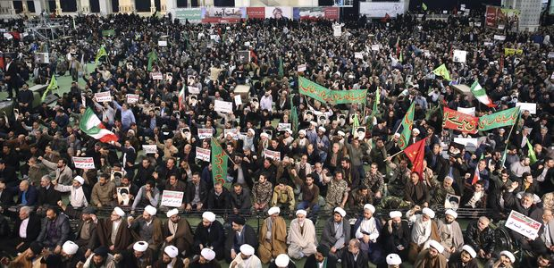 Iranian protesters chant slogans at a rally in Tehran, Iran, Saturday, Dec. 30, 2017. Iranian hard-liners rallied Saturday to support the country's supreme leader and clerically overseen government as spontaneous protests sparked by anger over the country's ailing economy roiled major cities in the Islamic Republic. (AP Photo/Ebrahim Noroozi) ORG XMIT: ENO101