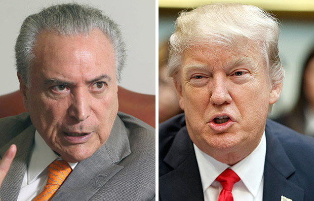 Brazil's President Michel Temer, gestures during an interview with Reuters at his office in Brasilia, Brazil, January 16, 2017. REUTERS/Adriano Machado ORG XMIT: BRA105President Donald Trump speaks during a meeting with business leaders in the Roosevelt Room of the White House in Washington, Monday, Jan. 30, 2017. (AP Photo/Evan Vucci) ORG XMIT: DCEV114