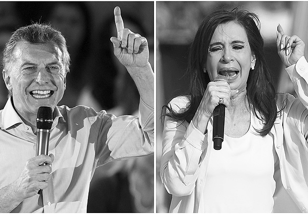 Photo composition showing file pictures of Argentine President Mauricio Macri(L) delivering a speech in support of Cambiemos party legislator candidates in Buenos Aires on October 17, 2017 and Argentina's former President and Buenos Aires senatorial candidate for the Unidad Ciudadana Party, Cristina Fernandez de Kirchner delivering a speech at Juan Domingo Peron stadium in Avellaneda, Buenos Aires on October 16, 2017. Argentine President Mauricio Macri's minority government faces a mid-term electoral test Sunday which is likely to confirm the political comeback of ex-president Cristina Kirchner, who is set to win a Senate seat. / AFP PHOTO / Juan MABROMATA AND Eitan ABRAMOVICH