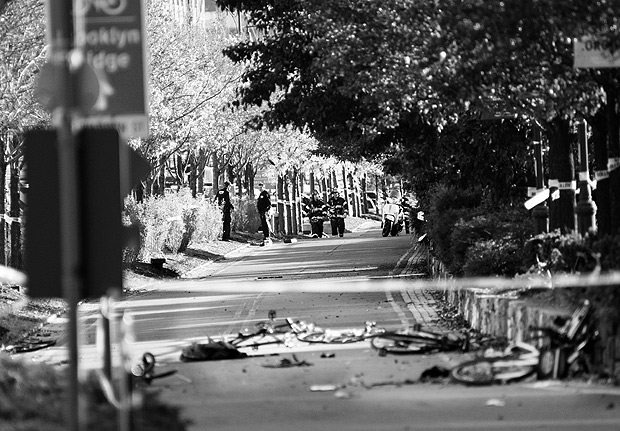 Bicycles and debris lay on a bike path after a motorist drove onto the path near the World Trade Center memorial, striking and killing several people Tuesday, Oct. 31, 2017. (AP Photo/Craig Ruttle) ORG XMIT: NYCR102
