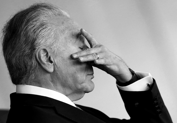 Brazil's President Michel Temer reacts during a working session at Mercosur trade bloc annual summit in Brasilia