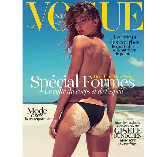 Gisele Bundchen poses for the cover of French Vogue June/July 2012 issue