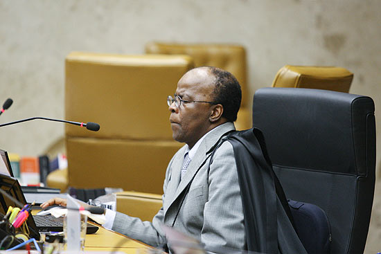 O ministro Joaquim Barbosa durante sessão do Supremo Tribunal Federal