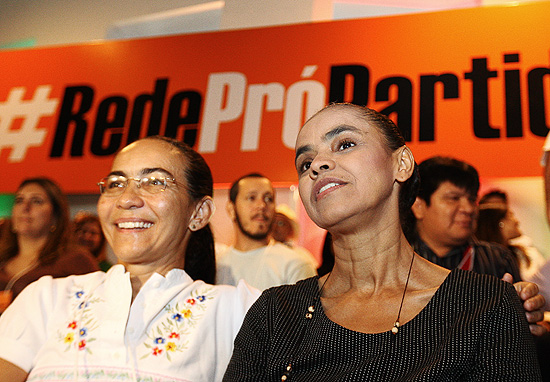 Helosa Helena e Marina Silva na apresentao de seu novo partido, em Braslia