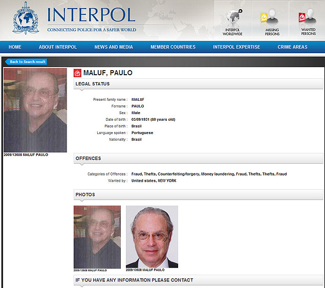 Reprodu��o de p�gina do site da Interpol