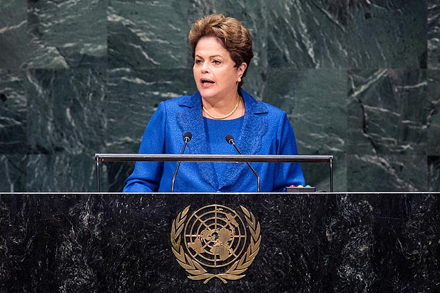 NEW YORK, NY - SEPTEMBER 24: President of Brazil Dilma Roussef speaks at the 69th United Nations General Assembly on September 24, 2014 in New York City. The annual event brings political leaders from around the globe together to report on issues meet and look for solutions. This year's General Assembly has highlighted the problem of global warming and how countries need to strive to reduce greenhouse gas emissions. Andrew Burton/Getty Images/AFP == FOR NEWSPAPERS, INTERNET, TELCOS & TELEVISION USE ONLY ==