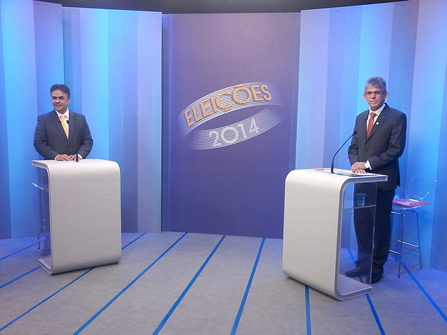 Candidatos nos est�dios da TV Cabo Branco antes do debate